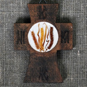 Painted wooden crosses, wheat
