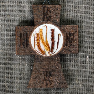 Painted wooden crosses, wheat, with vibrant texture
