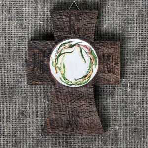 Painted wooden crosses, willow, with vibrant texture