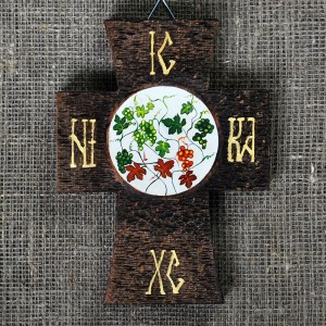 Painted wooden crosses, vine, with vibrant texture